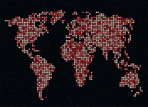 Map Poster featuring the digital art Dot Map Of The World - Red by Michael Tompsett