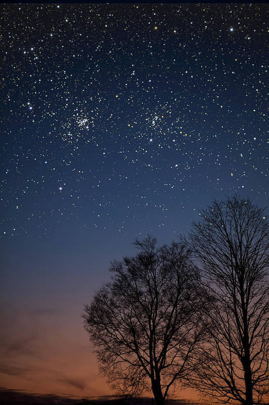 Stars Poster featuring the photograph Double Cluster Sunset by Charles Warren