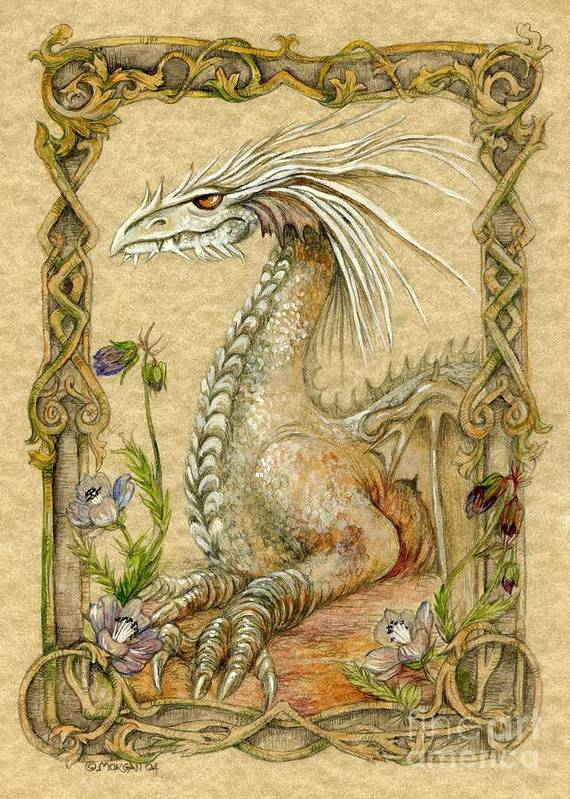 Dragon Poster featuring the painting Dragon by Morgan Fitzsimons