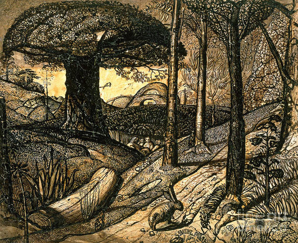 Early Poster featuring the drawing Early Morning by Samuel Palmer