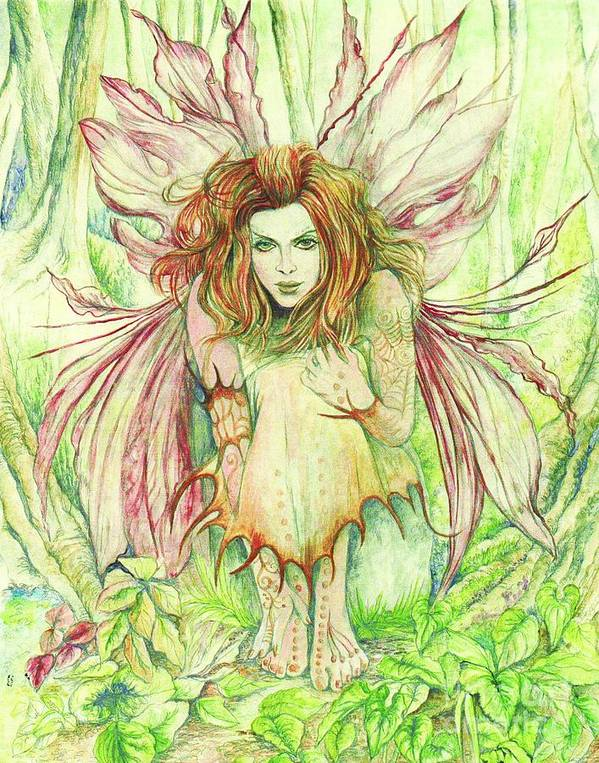 Edana Poster featuring the painting Edana The Fairy Collection by Morgan Fitzsimons