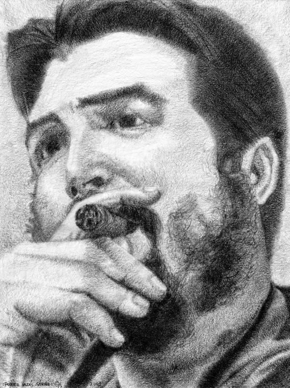 Che Poster featuring the drawing El Che by Roberto Valdes Sanchez
