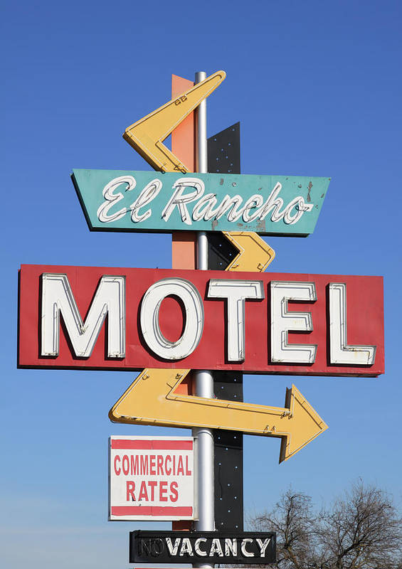 Antique Poster featuring the photograph El Rancho Motel Stockton Ca by Troy Montemayor