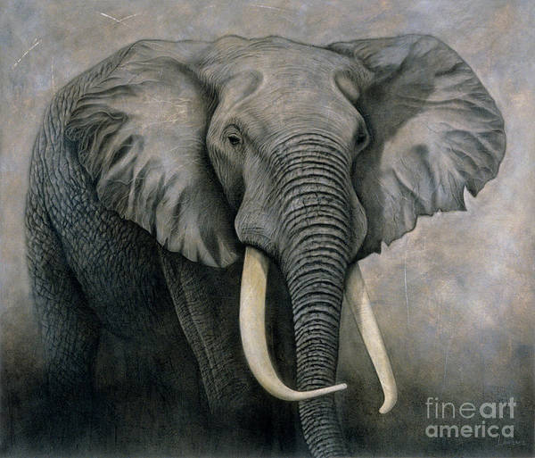 Lawrence Poster featuring the painting Elephant by Lawrence Supino