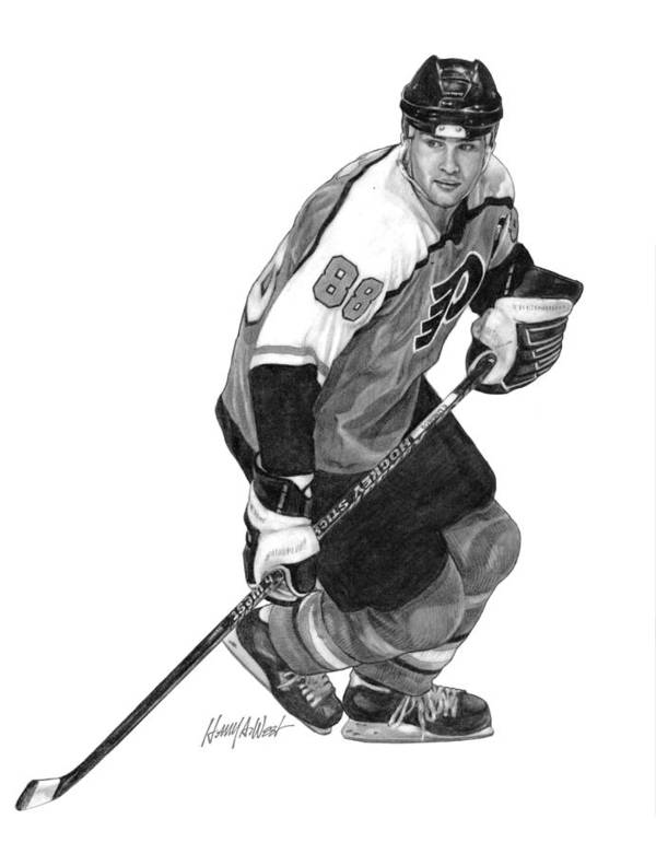 Eric Lindros Poster featuring the drawing Eric Lindros by Harry West