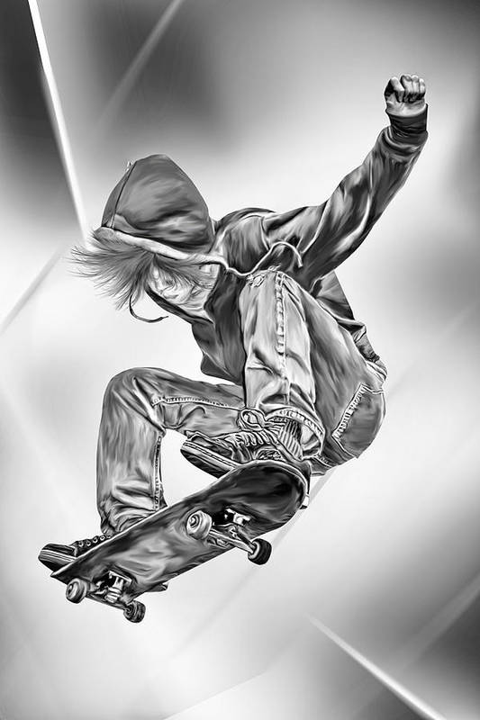 Extreme Poster featuring the digital art Extreme Skateboard Jump by Julie L Hoddinott