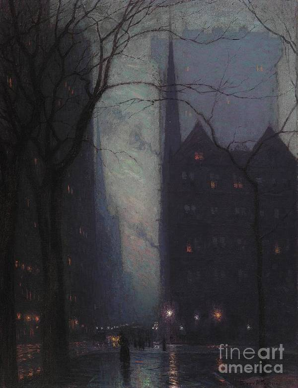 Fifth Poster featuring the painting Fifth Avenue At Twilight by Lowell Birge Harrison