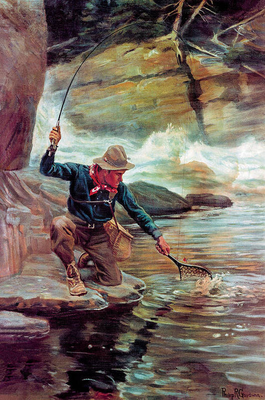 Fishing Poster featuring the painting Fisherman By Stream by Phillip R Goodwin