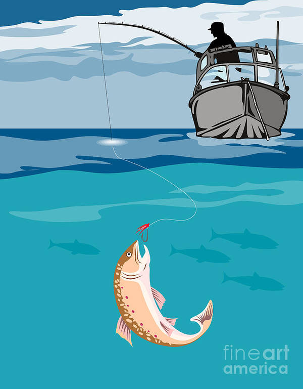 Fly Fisherman Poster featuring the digital art Fisherman On Boat Trout by Aloysius Patrimonio