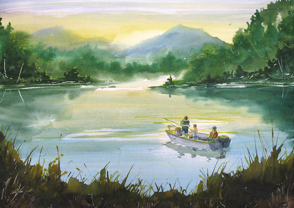 Fishing Poster featuring the painting Fishing With Grandpa by Sean Seal