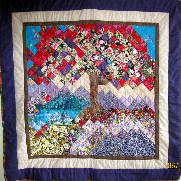 Reds Mingle With Tones Of Purple And Lavender And Brown Poster featuring the tapestry - textile Flame Tree Quilted Wallhanging by Sarah Hornsby