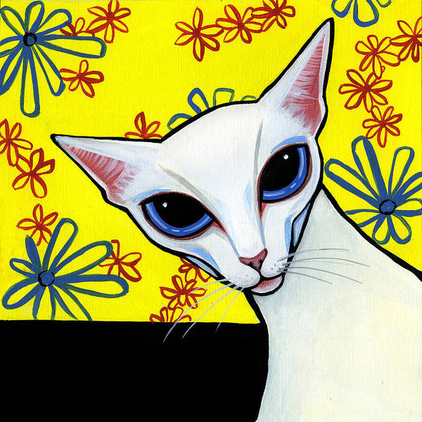 Cat Poster featuring the painting Foreign White Cat by Leanne Wilkes