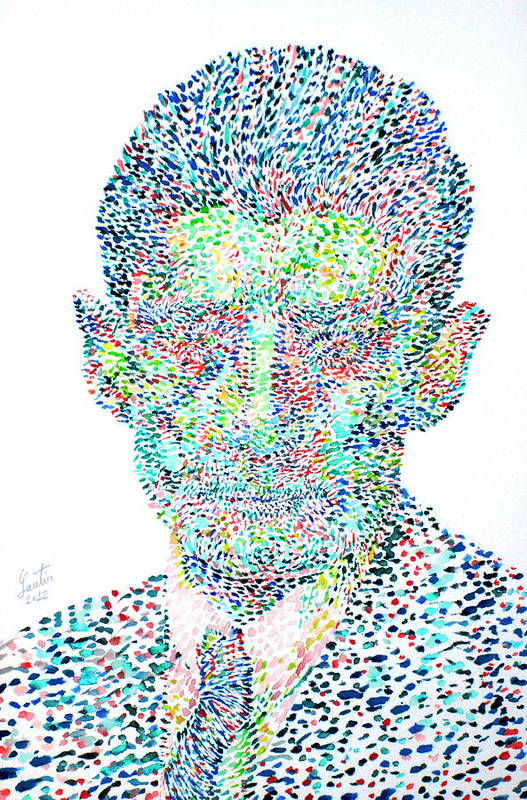 Franz Poster featuring the painting Franz Kafka Watercolor Portrait.1 by Fabrizio Cassetta