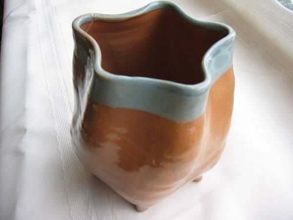 Thrown Poster featuring the ceramic art Free-form Pentagon Vase by Julia Van Dine