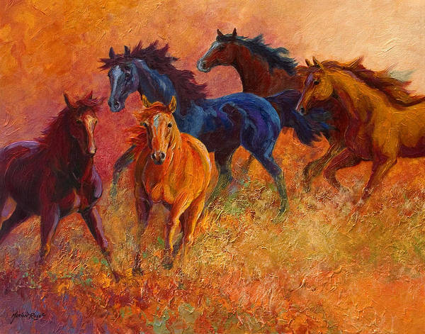 Horses Poster featuring the painting Free Range - Wild Horses by Marion Rose