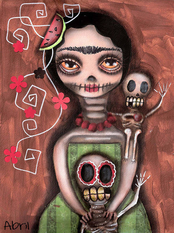 Day Of The Dead Poster featuring the painting Frida Day Of The Dead by Abril Andrade Griffith