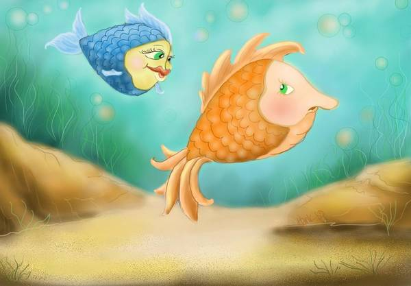 Blue Fish And Orange Fish Poster featuring the drawing Friendship Fish by Hank Nunes