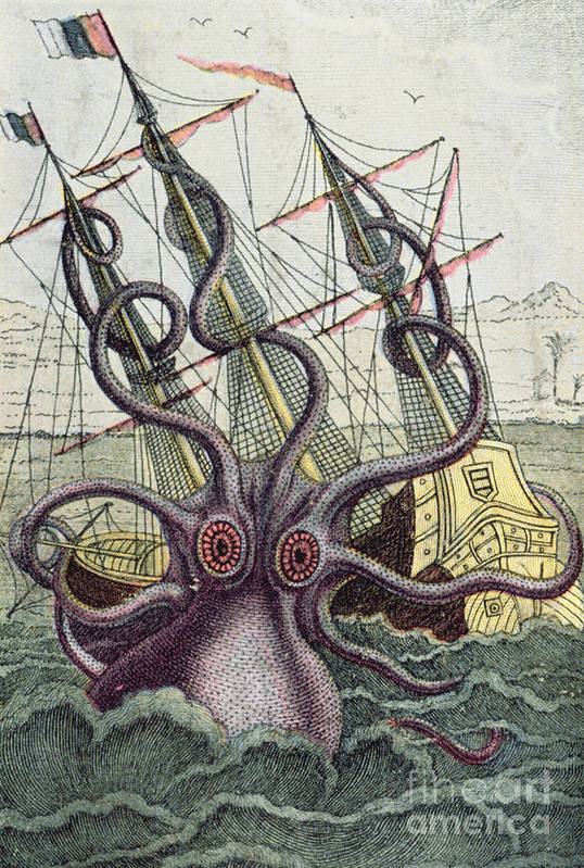 Monster Poster featuring the painting Giant Octopus by Denys Montfort