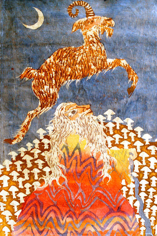 Fantasy Poster featuring the tapestry - textile Goat Leaping Over Wood Elf by Carol Law Conklin