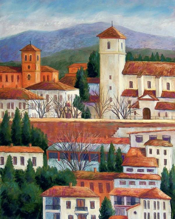 Granada Landscape Poster featuring the pastel Granada View by Candy Mayer