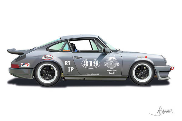 Porsche Owners Club Poster featuring the digital art Gunter Lennartz by Alain Jamar