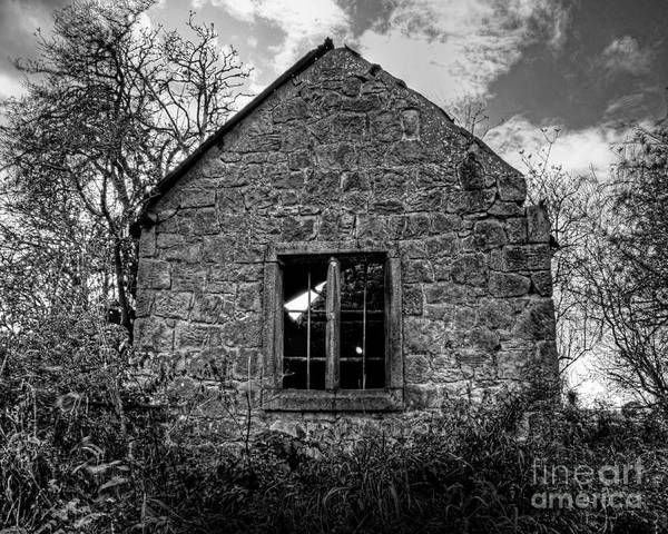 Black And White Poster featuring the photograph Haunted House In Black And White by Chris Smith