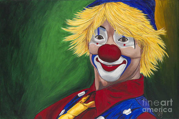 Clown Poster featuring the painting Hello Clown by Patty Vicknair