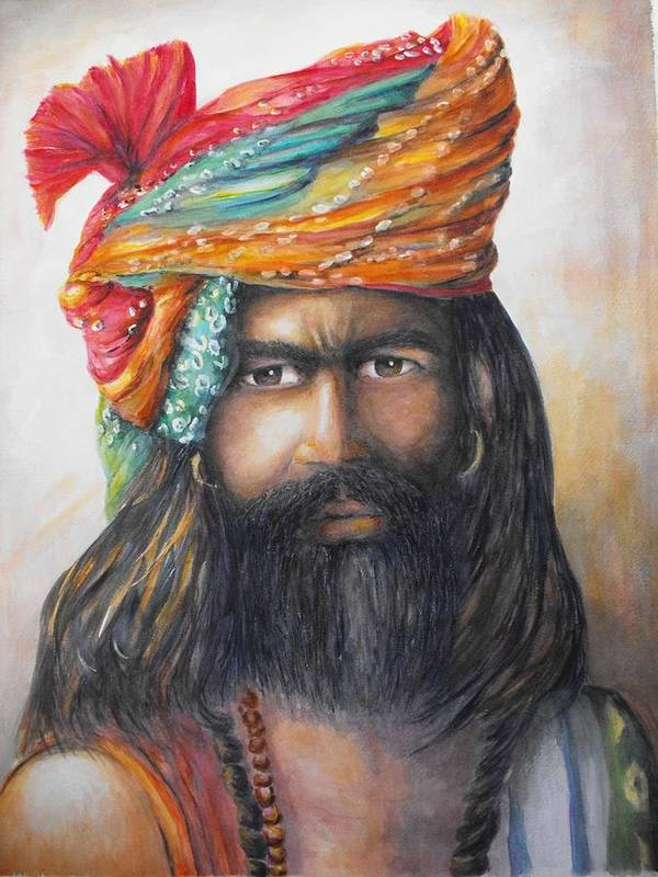 Hindu Poster featuring the painting Hindu Holy Man by Debra Bannister