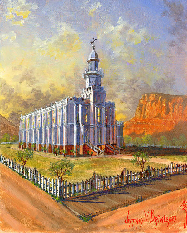 St. George Temple Poster featuring the painting Historic St. George Temple by Jeff Brimley