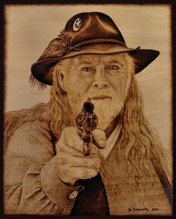 Pyrography Poster featuring the pyrography Hold It Right There by Jo Schwartz