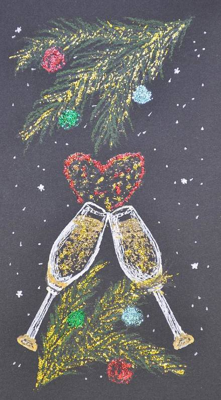 Christmas Greeting Card Poster featuring the painting I Love You by Georgeta Blanaru
