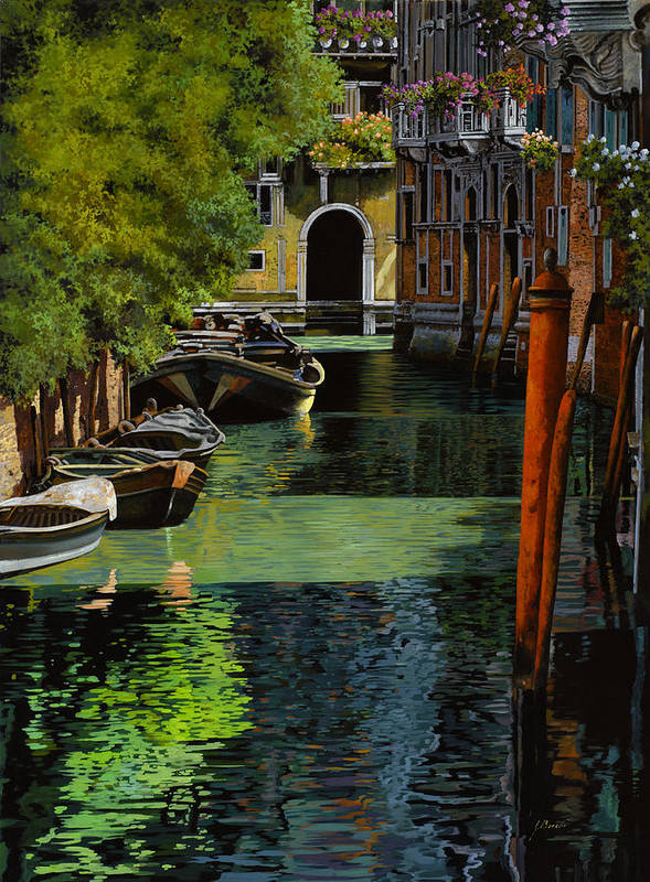 Venice Poster featuring the painting il palo rosso a Venezia by Guido Borelli