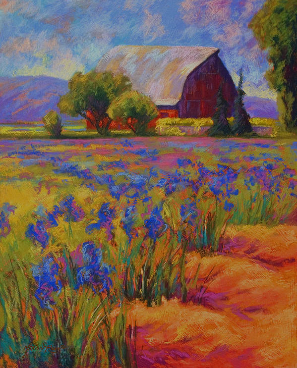 Pastel Poster featuring the painting Iris Field by Marion Rose