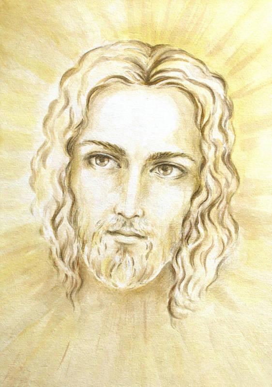 Jesus Light Portrait Poster featuring the painting Jesus In Light by Stoyanka Ivanova