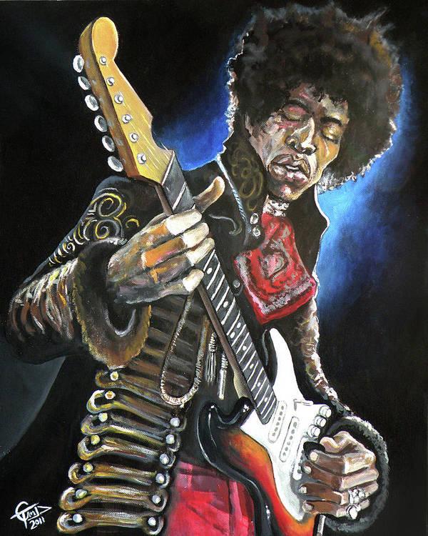 Jimi Hendrix Poster featuring the painting Jimi Hendrix by Tom Carlton