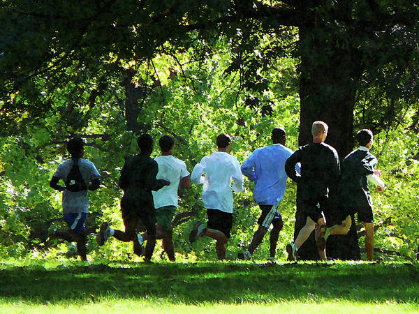 Summer Poster featuring the photograph Joggers In The Park by Susan Savad