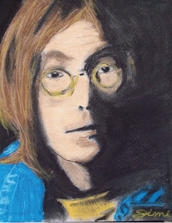 Miami Poster featuring the drawing John Lennon Pastel by Jimi Bush