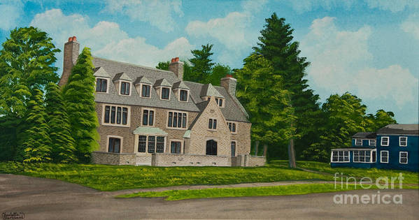 Kappa Delta Rho Frat House Poster featuring the painting Kappa Delta Rho North View by Charlotte Blanchard
