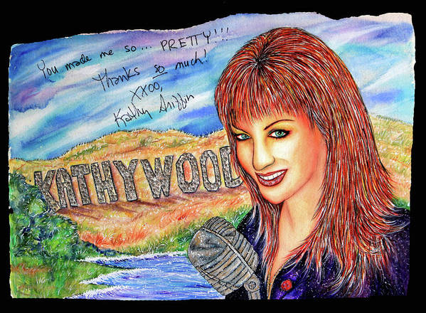 Actress Poster featuring the mixed media Kathywood by Joseph Lawrence Vasile