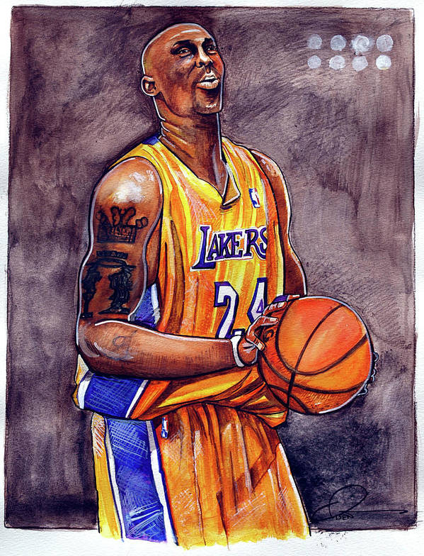 Kobe Bryant Poster featuring the painting Kobe Bryant by Dave Olsen