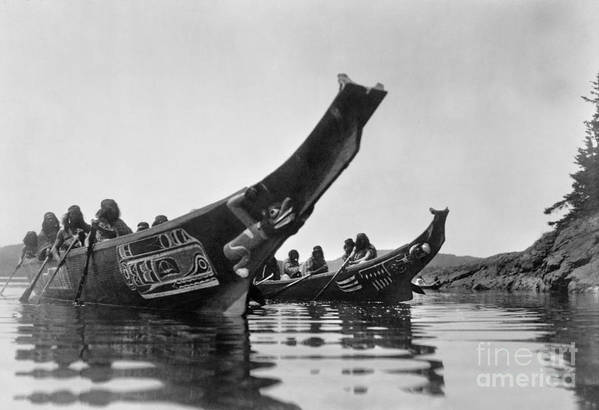 1914 Poster featuring the photograph Kwakiutl Canoes, C1914 by Granger