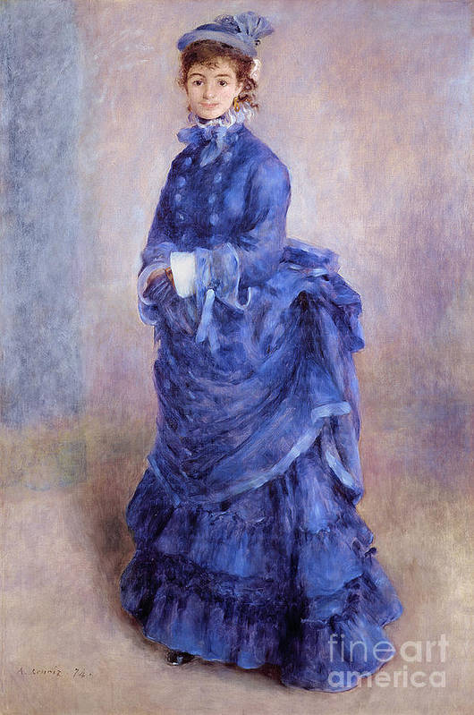 Female; Portrait; Impressionist; Full Length; Bonnet; Hat; Purple Dress; Bustle; Parisian; French; Dame; Bleu Poster featuring the painting La Parisienne The Blue Lady by Pierre Auguste Renoir