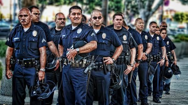 Lapd Unit Patrol Riot Staple Center Law Enforcement Los Angeles Police Department Uniform Poster featuring the photograph Lapd Safeguarding Lives by Chris Yarzab