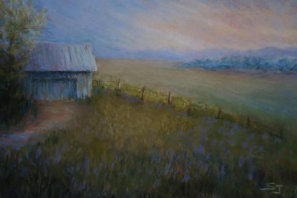 Landscape Poster featuring the pastel Last Farm Light by Susan Jenkins