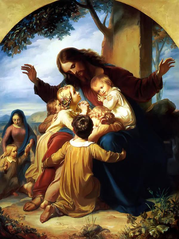 Let The Children Come To Me Print Poster featuring the painting Let The Children Come To Me by Carl Vogel von Vogelstein