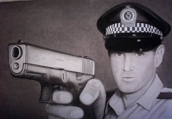 Police Poster featuring the drawing Lethal Force by Brendan SMITH