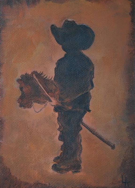 Boy Painting Poster featuring the painting Little Rider by Leslie Allen