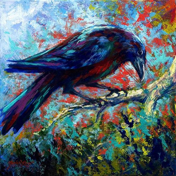 Crows Poster featuring the painting Lone Raven by Marion Rose