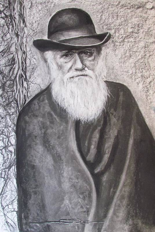 Charles Darwin Poster featuring the drawing Lonely Occupation - C. Darwin by Eric Dee
