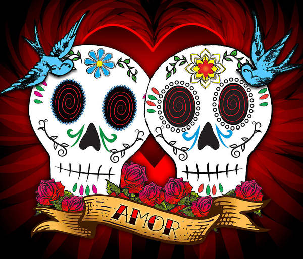 Skulls Poster featuring the drawing Love Skulls by Tammy Wetzel